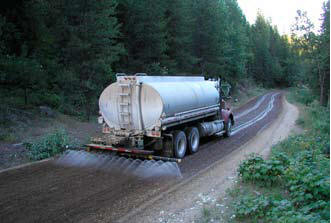 Water truck spreading